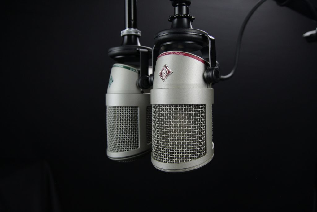 Two Gray Condenser Microphones