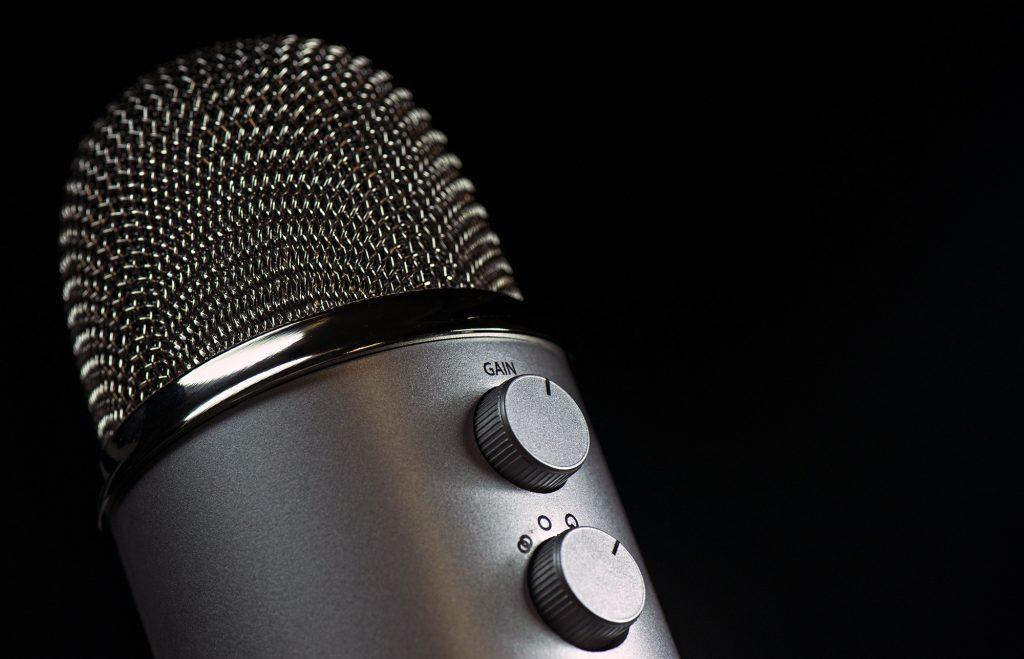 Grey coloured condenser microphone