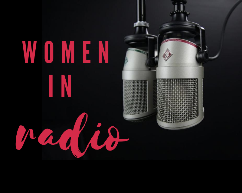 """Graphic that depicts to microphones with text that says """"women in radio"""""""