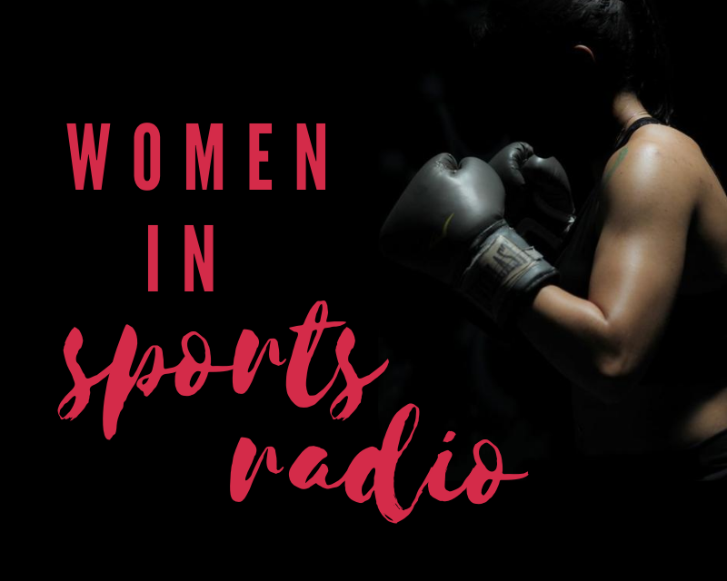 """Graphic depicting a female boxer in shadow with text that says """"women in sports radio"""""""